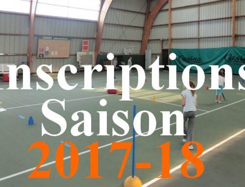 Inscriptions saison 2017-18